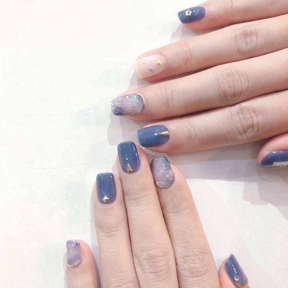 blue ocean-inspired nail art