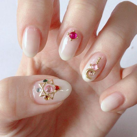 Sailor Moon-Inspired Nail Art with a nude nail base colour