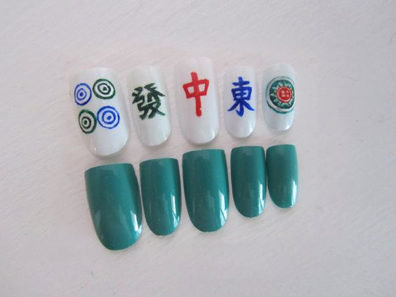 Mahjong nails with green nail colour