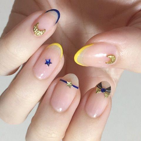 Sailor Moon-Inspired Nail Art with nude nails