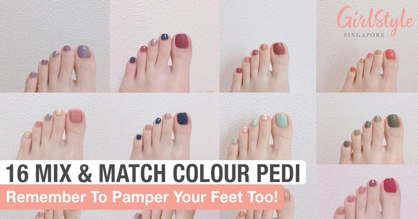 Pamper Your Feet With These 16 Minimalist Mix & Match Colour Pedicures