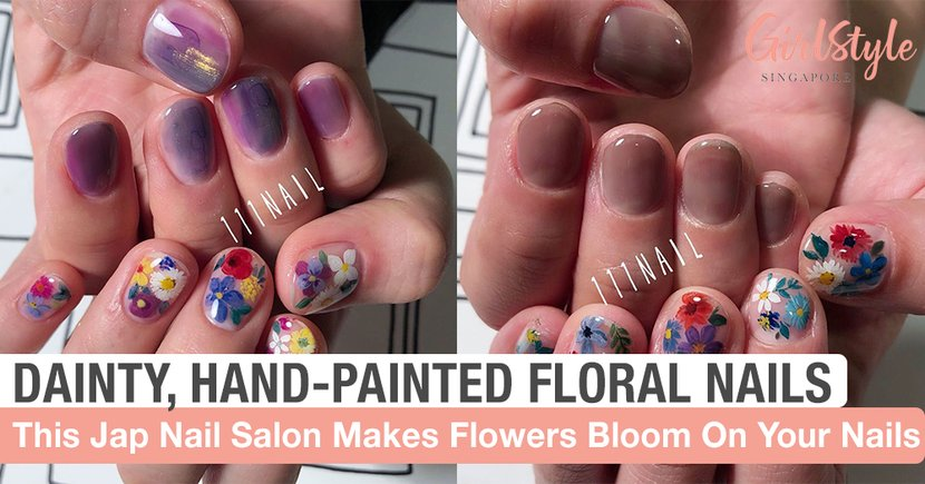 This Japanese Nail Salon Creates The Prettiest Dainty Hand-painted Floral Nails!