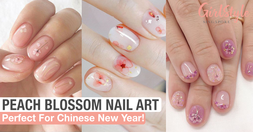 Get Pretty Peach Blossom Nails For Chinese New Year