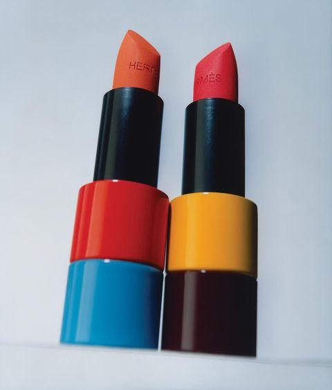 Close up of Hermès lipsticks