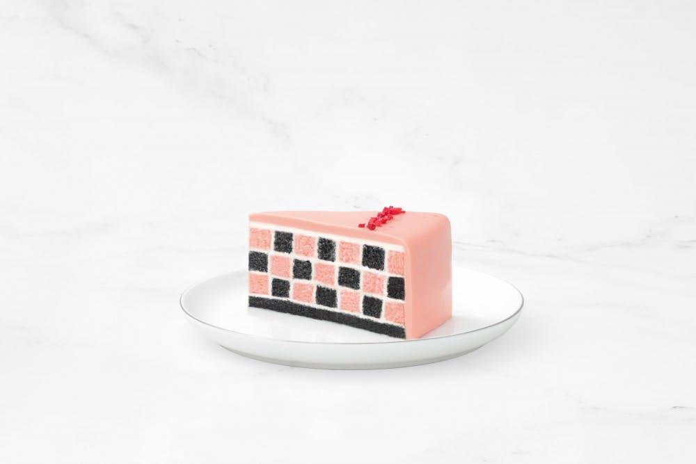 One slice of strawberry checkered cake