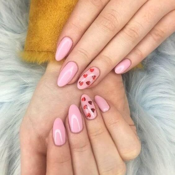 Pink nails red heart design