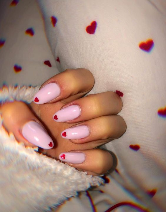 Pastel pink red heart nails