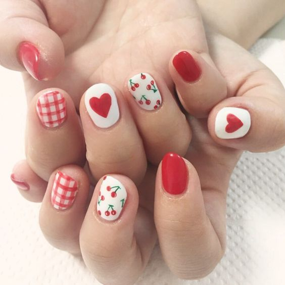Cherry and red heart nails