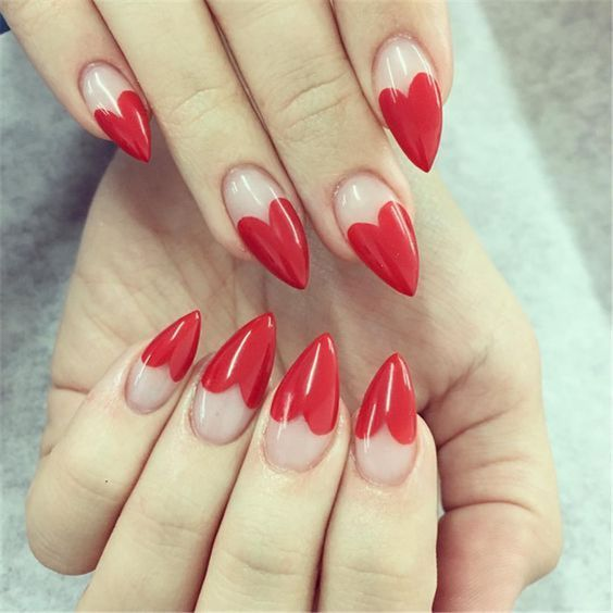 Red heart tip nails