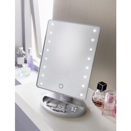 LED light mirror on vanity table