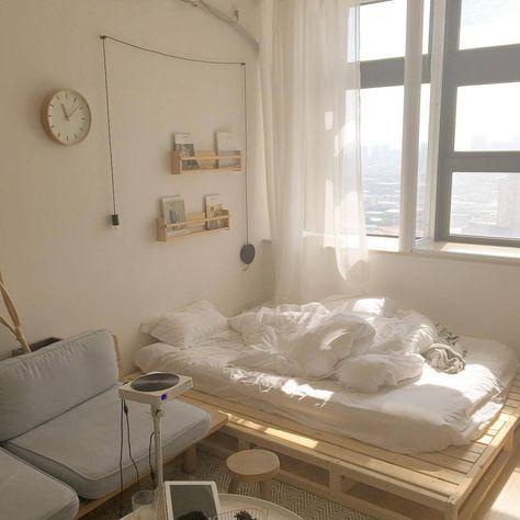 Korean-style bedroom interior design minimalist white colour scheme