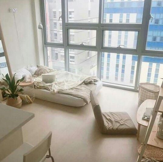 Korean-style bedroom interior design spacious room floor chair and bed on the floor