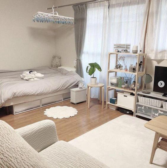 Korean-style bedroom interior design grey and white simple
