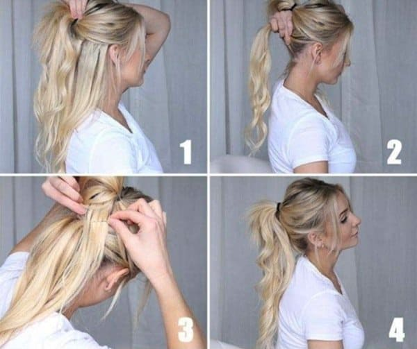 how to tie a voluminous ponytail for limp, flat hair by tying two ponytails close to each other