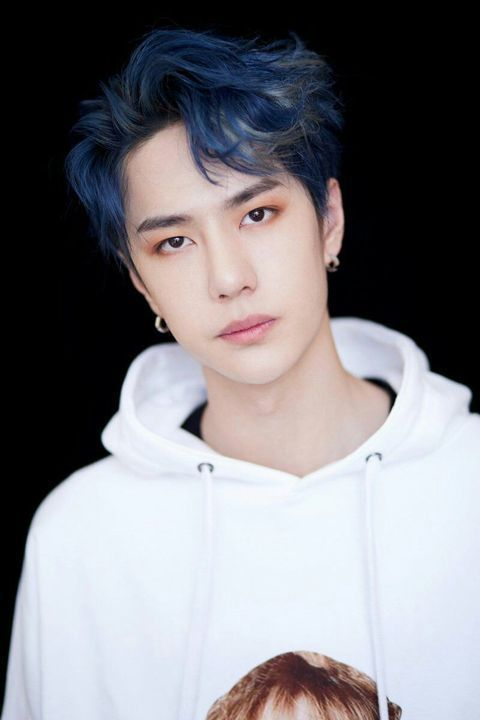 Chinese actor and singer wang yibo with blue hair parted in the middle and wearing a while hoodie