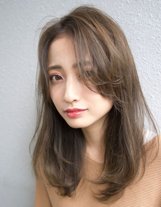 Long straight shoulder length hairstyle