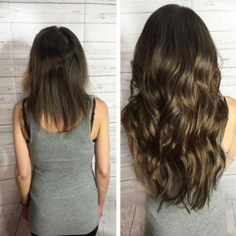 asian woman before and after hair extensions with wavy hair
