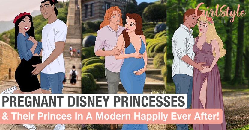 Artist Illustrates Pregnant Disney Princesses And Their Princes With Dad Bods
