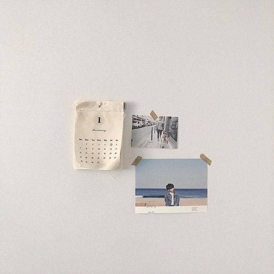 Korean-style mood board on the wall