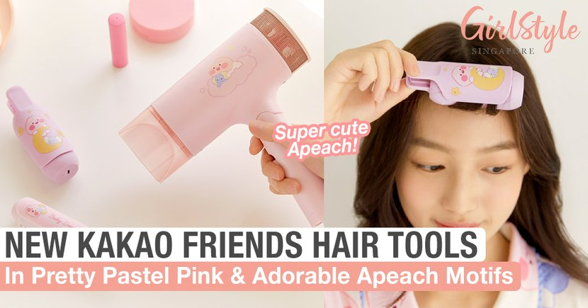 New KAKAO FRIENDS Hair Tools In Pretty Pastel Pink With Adorable Apeach Motifs