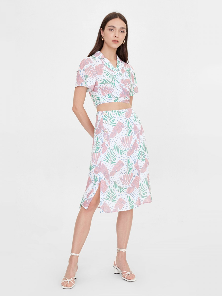 Pomelo leaf print top and skirt