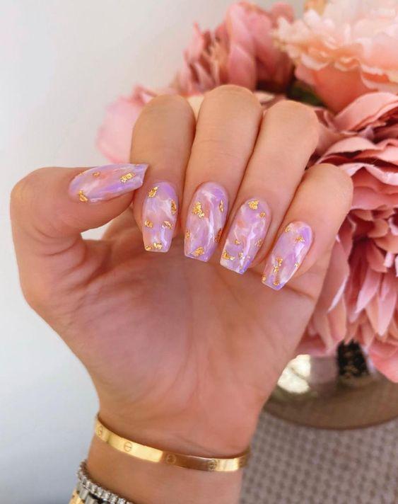 Purple marble nail design