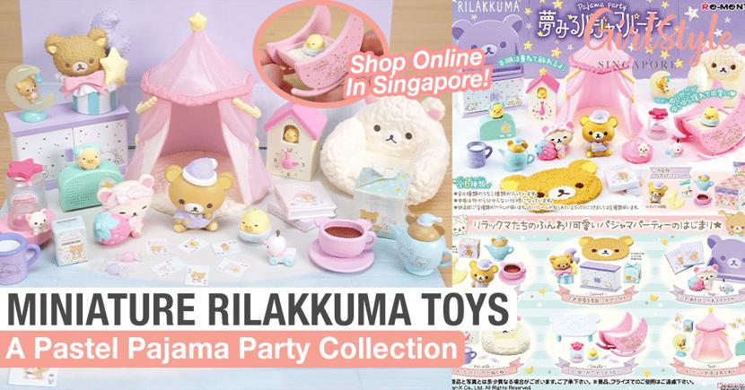 Adorable Pastel Rilakkuma Pajama Party Miniature Re-Ment Toy Collection
