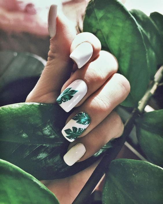 White and green leaf nails