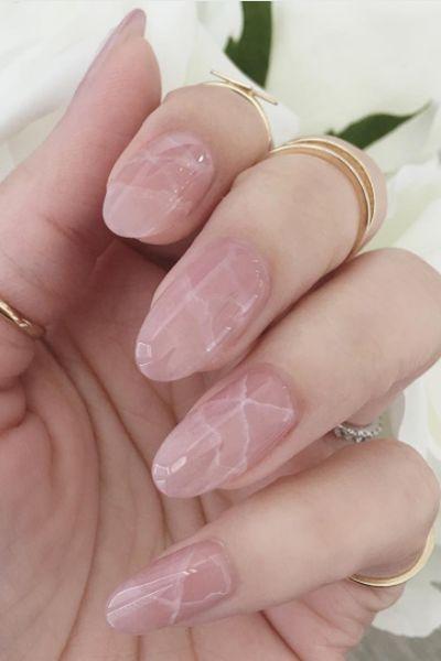 Translucent rose quartz nail design