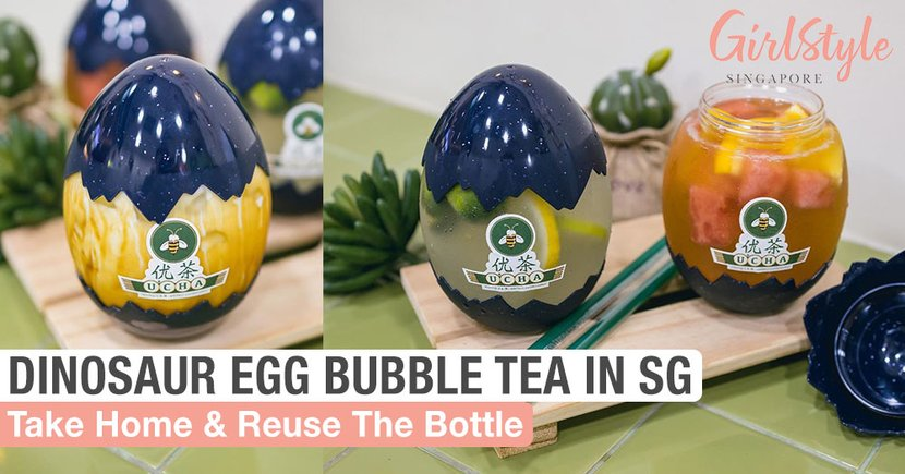 This Bubble Tea In Singapore Comes In A Cute Dinosaur Egg Cup Which You Can Take Home & Reuse