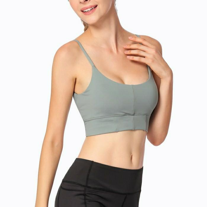 Low back sports bra front view