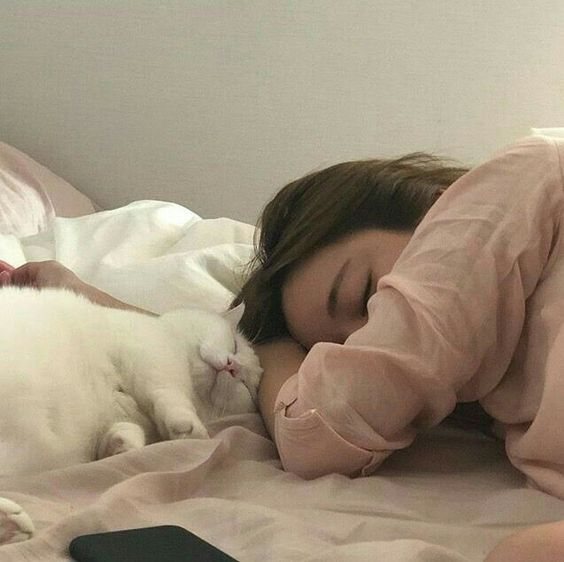 Sleeping on stomach with cat