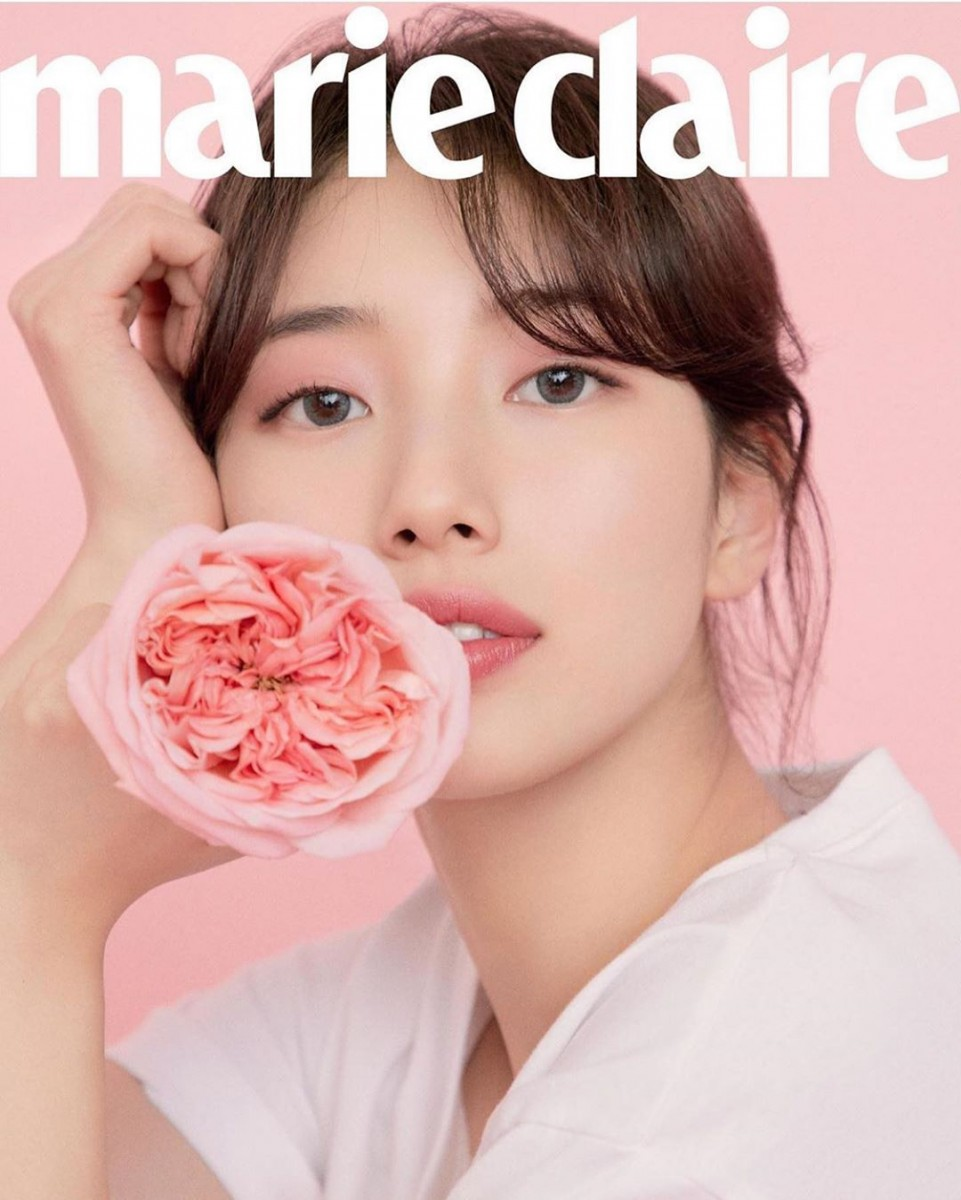 Suzy with curtain bangs for Marie Claire