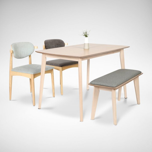 japanese-style Zandy Dining Table with bench and chairs