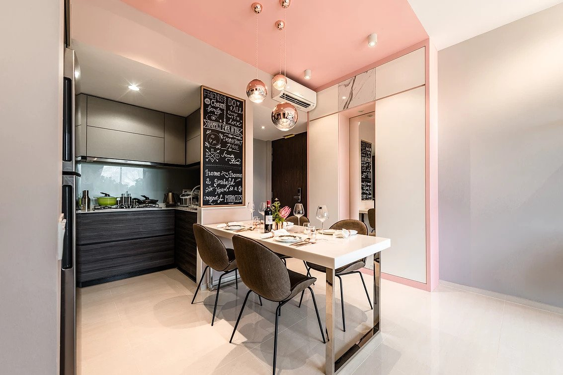 hdb flat with pink ceiling at dining area