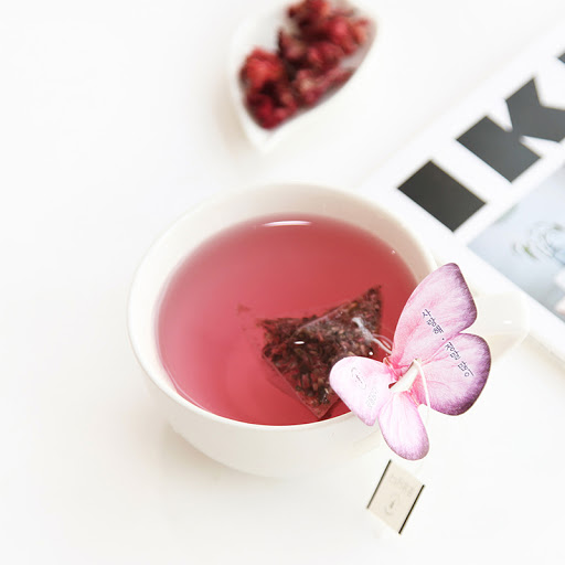 kKKOKDAM butterfly tea bags pink and red