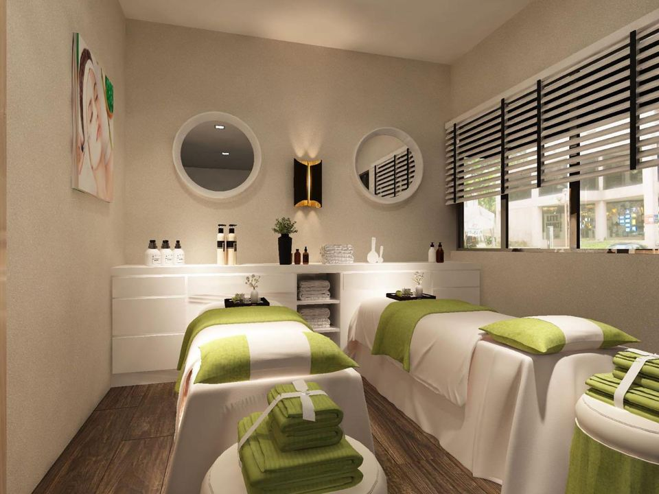 Pretty Relax beauty salon with green sheets