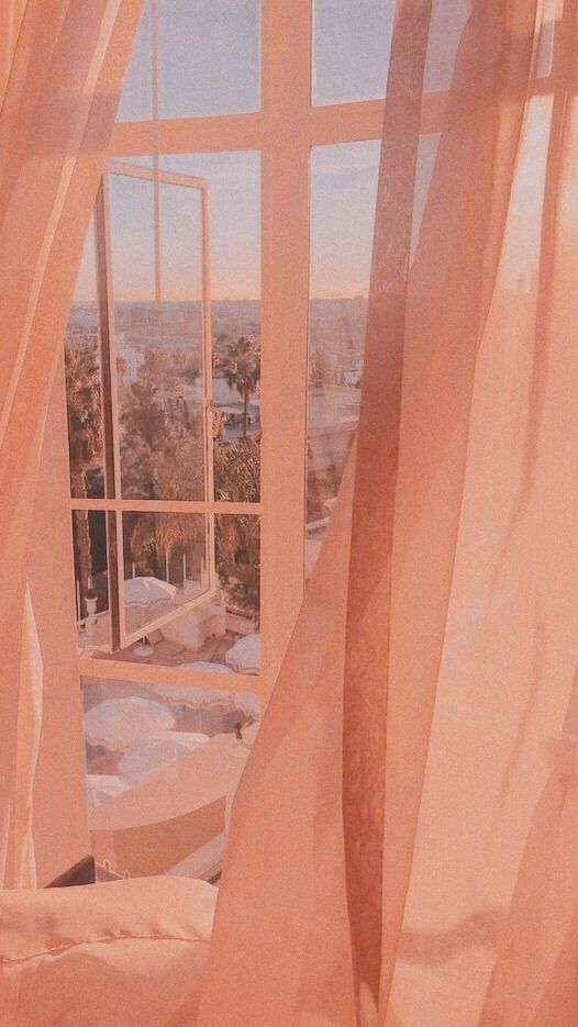 coral aesthetic bedroom window and curtains