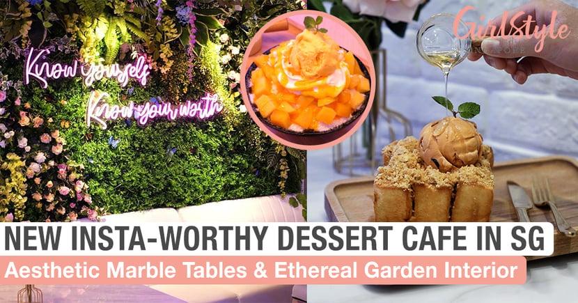 New Dessert Cafe Near Bugis Has Ethereal Garden Theme, Neon Lights & Aesthetic Marble Tables