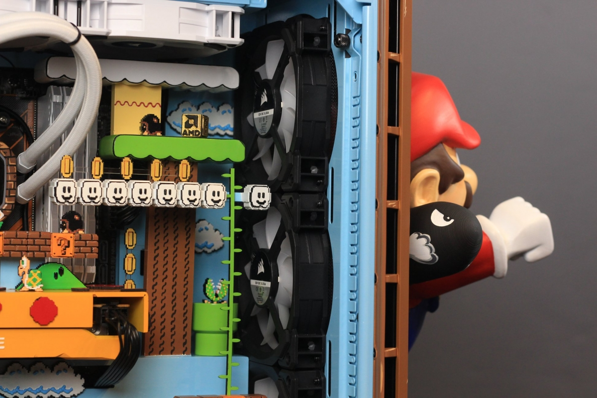 mario-themed pc with game elements