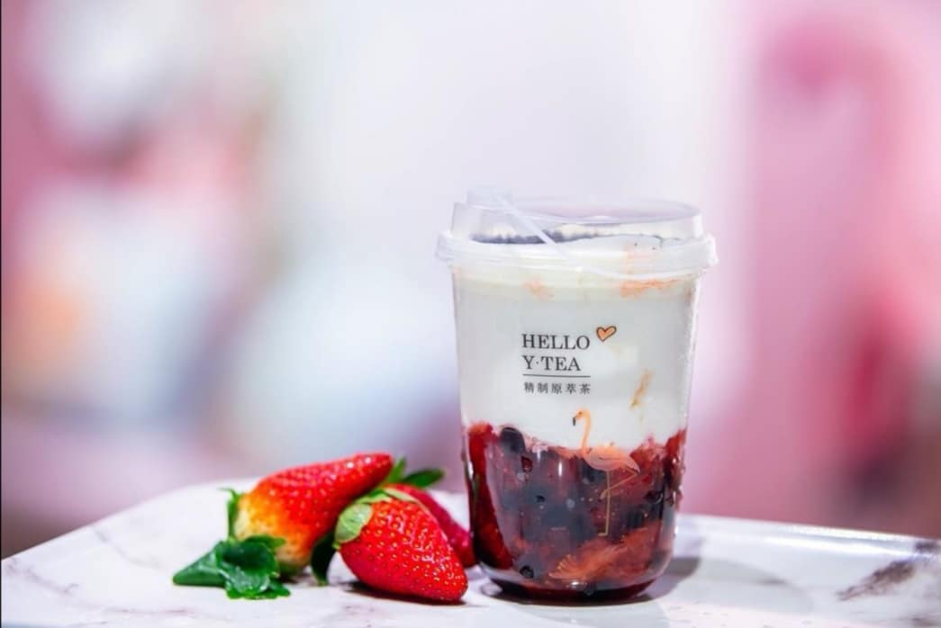 YTEA pink bubble tea cafe Singapore