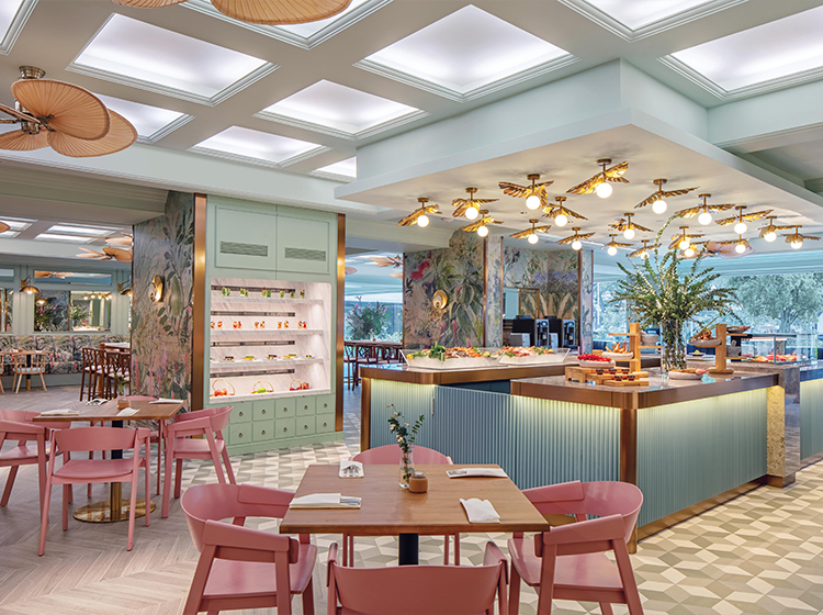 Ginger at PARKROYAL tropical botanic restaurant and pastel pink chairs