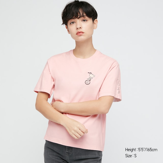 Women Peanuts X Yu Nagaba UT Graphic t shirt in pastel pink