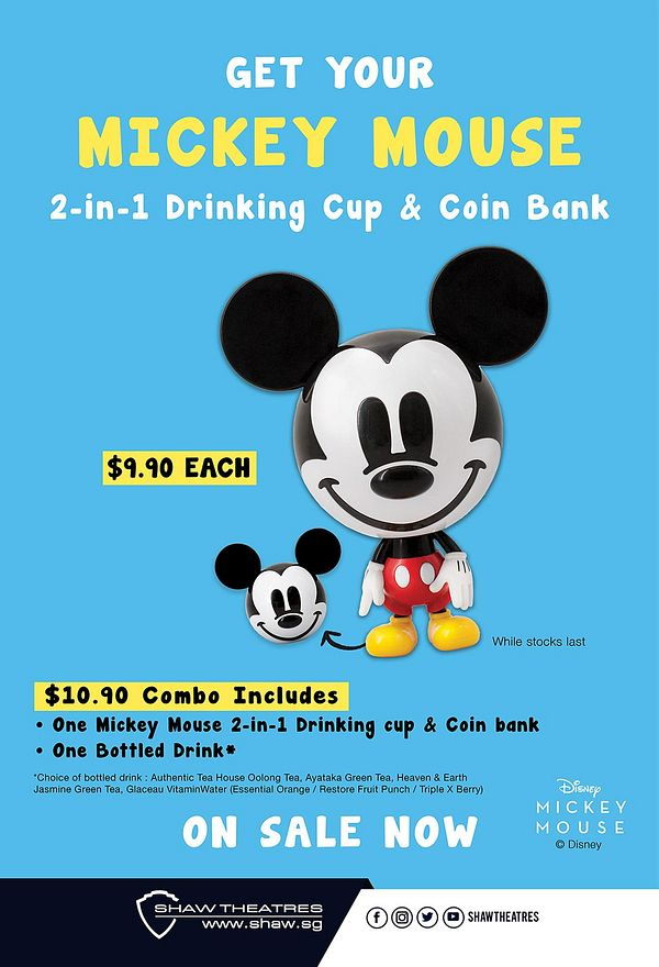 Shaw Theatres Mickey Mouse drinking cup and coin bank poster