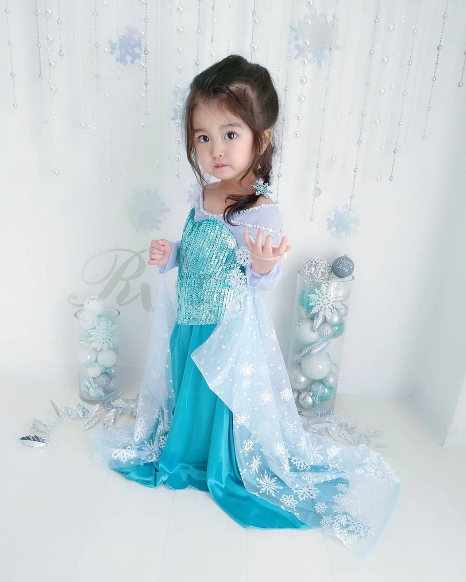 asian baby dressed as princess elsa from frozen