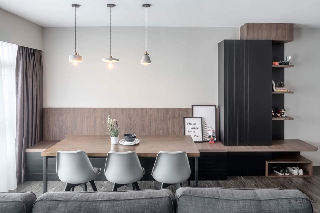 ash wood and grey breakfast dining nook in singapore