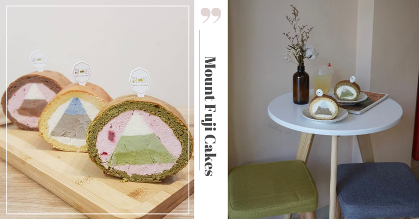 Cute Mount Fuji-Shaped Japanese-Style Roll Cakes At Minimalist Cafe In Singapore