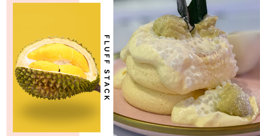 New Musang King Durian Soufflé Pancake At Fluff Stack Singapore Is Topped With Sago & Gula Melaka