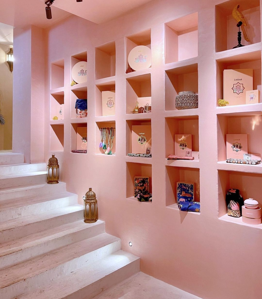 recessed wall shelving at la fez cafe singapore