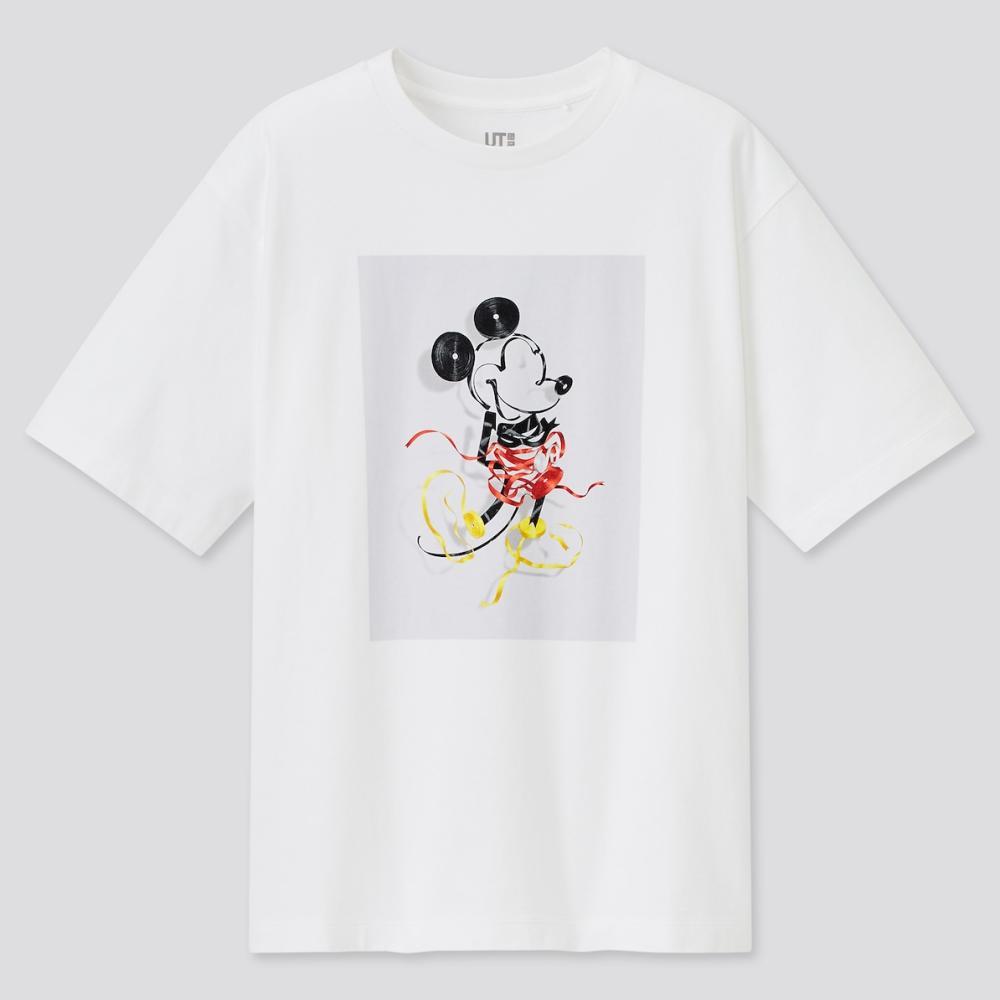 MICKEY MOUSE & MINNIE MOUSE ART BY YUNI YOSHIDA uniqlo white t shirt